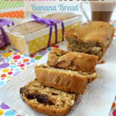 Fluffernutter Banana Bread with Nutella Swirl