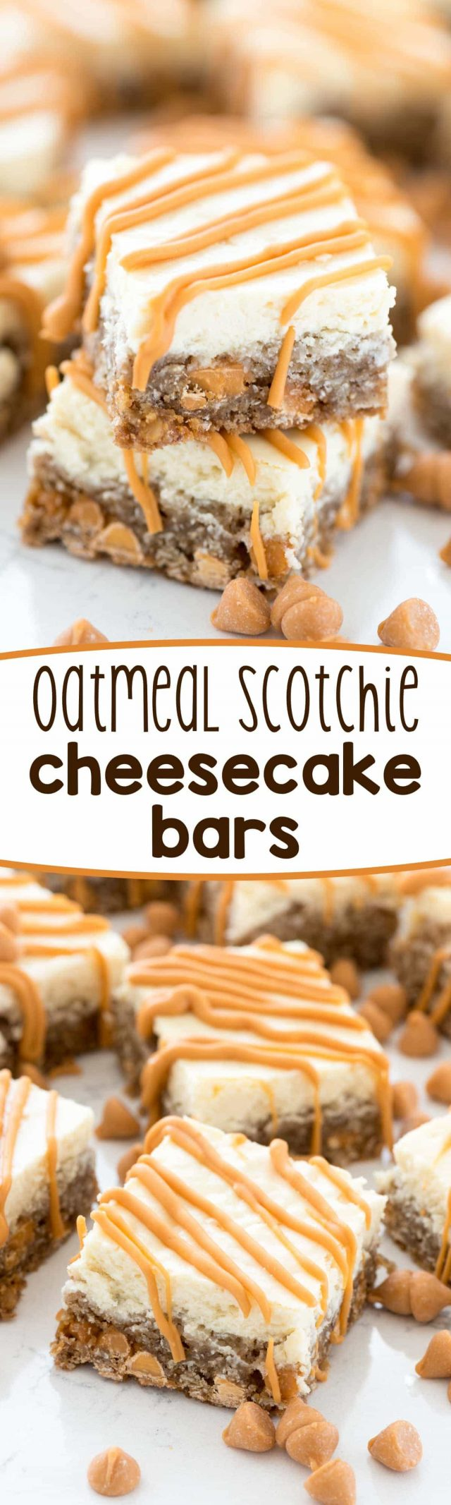 collage of oatmeal scotchie cheesecake bars
