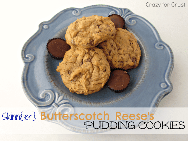 Skinnier butterscotch reese's pudding cookies on a blue decorative plate with recipe title in text below plate