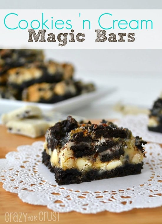Cookies 'n Cream Magic Bars | crazyforcrust.com | #magicbar #Oreo