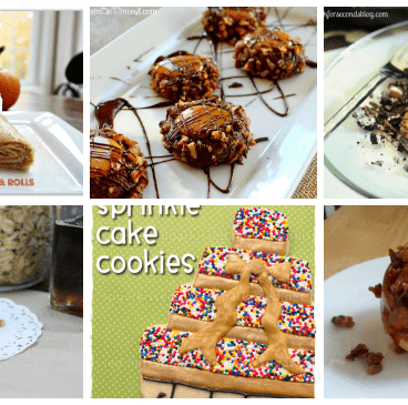 Six images of fall desserts including cookies, pie, and tortilla rolls.