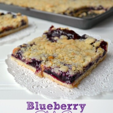 Blueberry Slab Pie slice on white doily