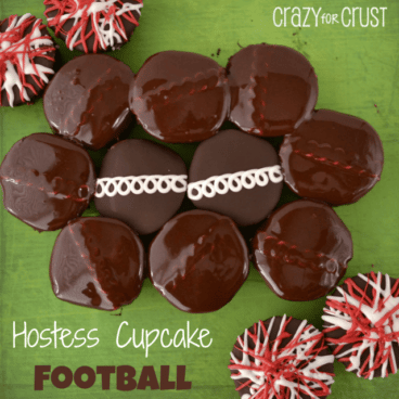 Hostess cupcake football treats in the shape of a football with additional cupcakes decorate as red and white pom poms, graphic title on the bottom left.