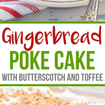 A Gingerbread Poke Cake is the perfect Christmas cake recipe! Gingerbread cake is filled with butterscotch and gingersnaps and topped with whipped cream and toffee bits. It's the perfect holiday dessert. Poke cakes are easy to make and super versatile, plus they're easy to travel with, so they're the perfect potluck dessert recipe. Serve this gingerbread version at your holiday party and wow your guests with Christmas flavor!
