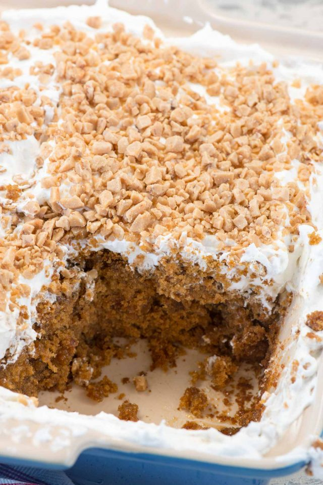 Gingerbread Poke Cake with butterscotch and toffee is the best Christmas cake recipe!