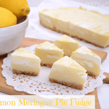 Lemon pie fudge slices on a white doily, with graphic image on the bottom left.