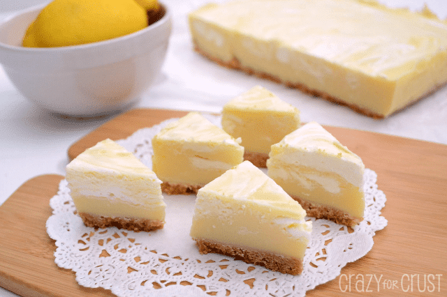 lemon fudge with crust shaped like pie slices
