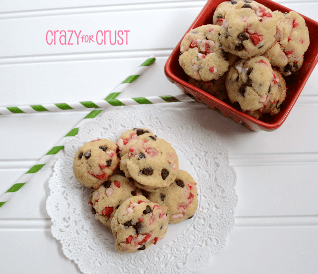 peppermint chocolate chip cookies in a pile  on white backgroud