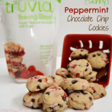 Peppermint chocolate chip cookies with Truvia bag in the background, top right has the graphic title.