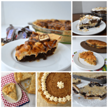 Six photo collage of fall desserts including pie and bars.