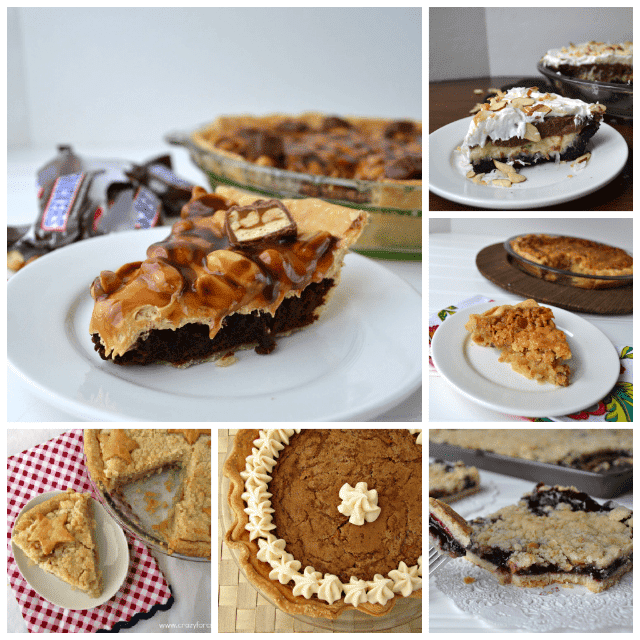 Pie collage with 6 photos of pie