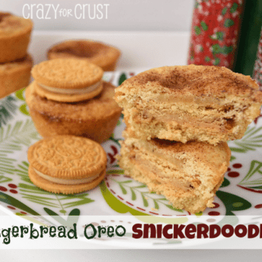 A stack of gingerbread oreo snickerdoodles on a plate next to oreo cookies and holiday sprinkles.