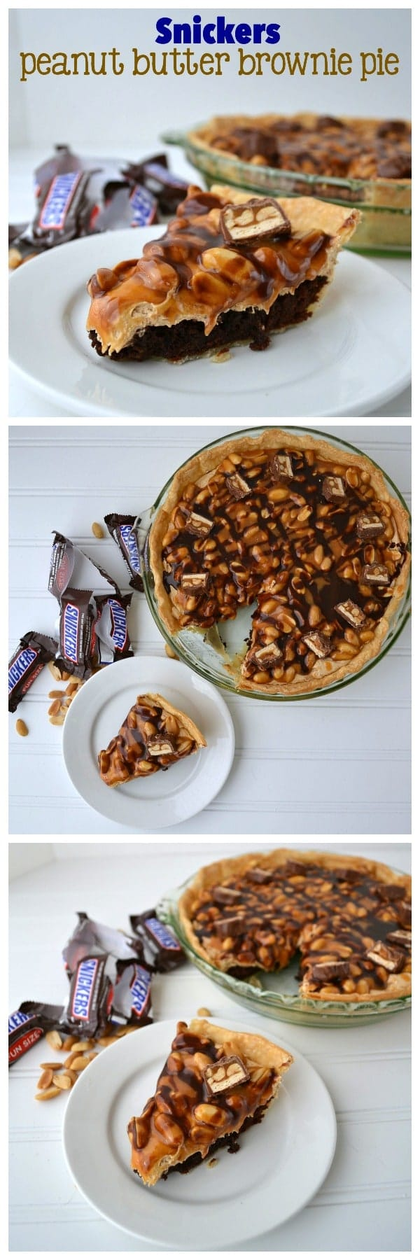 Snickers Peanut Butter Brownie Pie