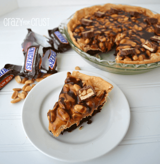 snickers pie slice on white plate