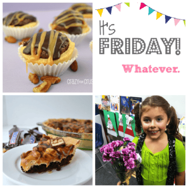 Four picture collage of tarts, snickers pie, girl holding purple flowers and graphic title of It's Friday Whatever.