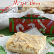 Almond white chocolate magic bars in a christmas tin, with graphic title on the top.