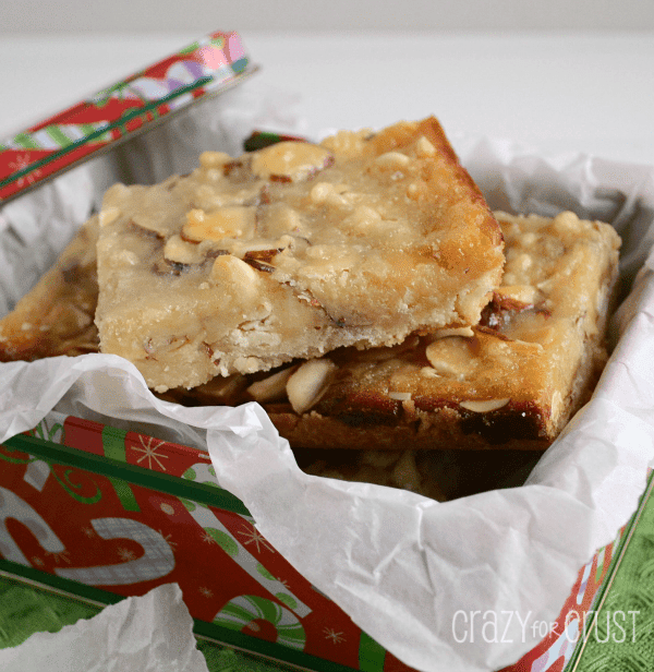 almond white chocolate magic bars on parchment paper
