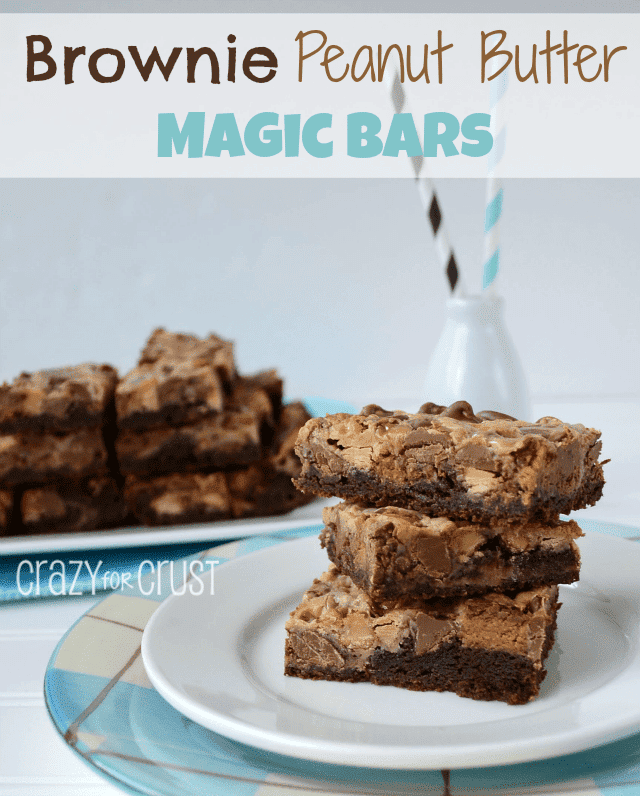 Brownie Peanut Butter Magic Bars by www.crazyforcrust | A brownie crust topped with Reese's Peanut Butter Cups!