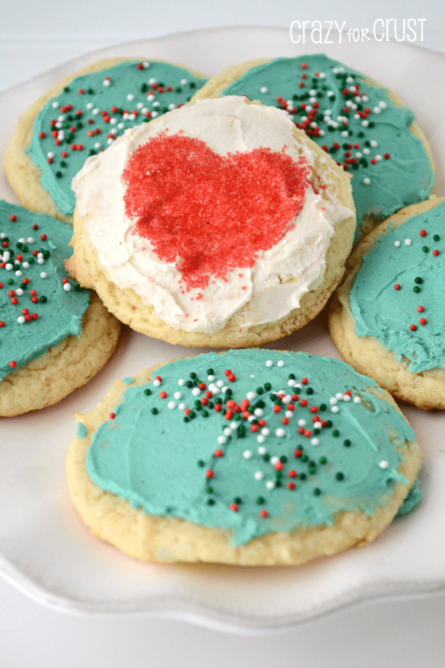 Cake mix sugar cookies on a white plate