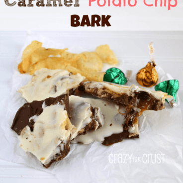 Caramel potato chip back on a white paper with caramel kisses candies in the background, graphic title on the top.