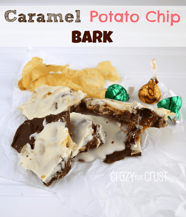 Caramel Potato Chip Bark by www.crazyforcrust.com #bark #candy #caramel