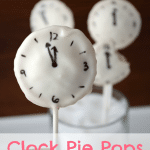 Clock pie pops, with graphic title on the bottom.