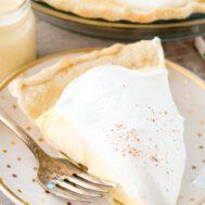 slice of eggnog pie