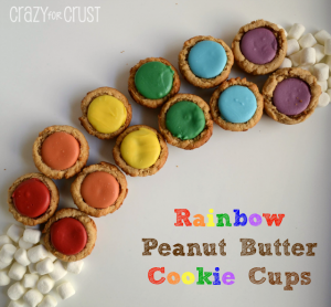 Rainbow Peanut Butter Cookie Cups by www.crazyforcrust.com #cookie #rainbow #christmas