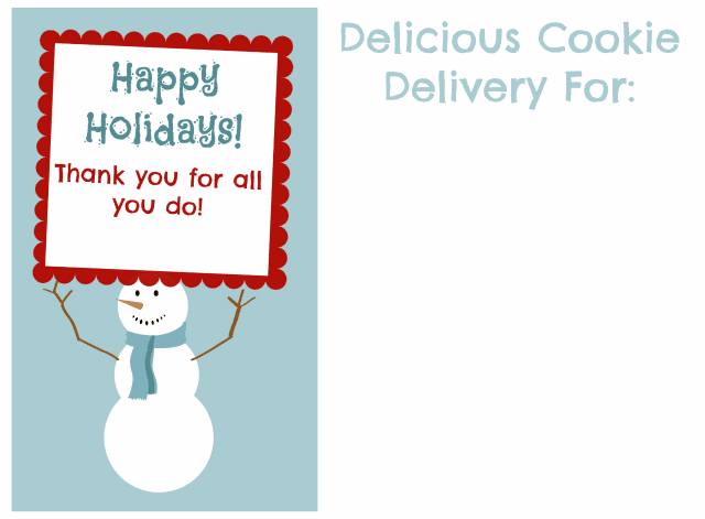 cookie printable for teachers with snowman