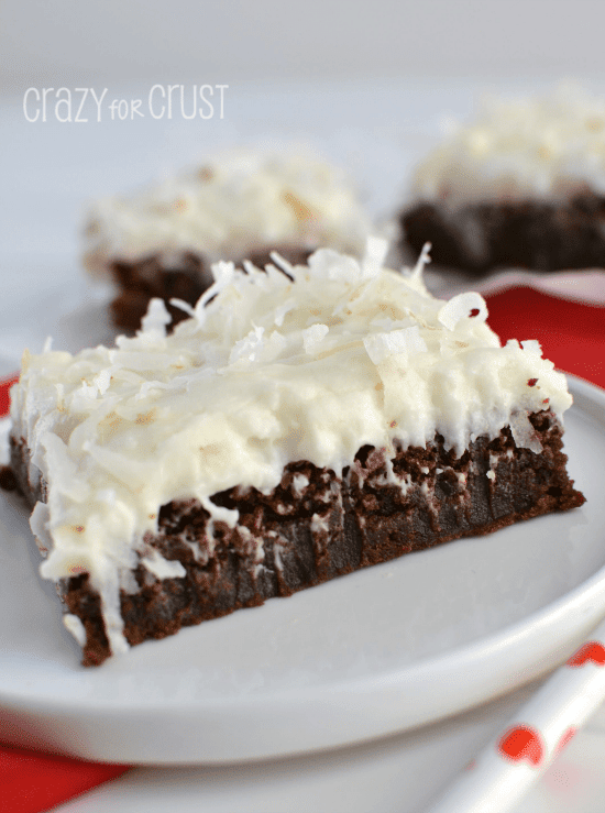 Fudgy Brownies with Coconut Frosting