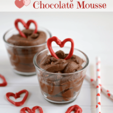 Heart healthy chocolate mouse in a clear glass with a red heart on top, graphic title on the top.