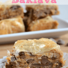 peanut butter baklava on white doily on cutting board