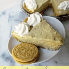 Banana cream pie with golden oreo crust