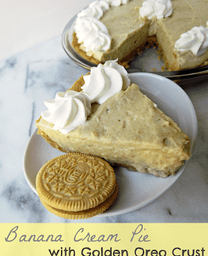 Banana cream pie with golden oreo crust