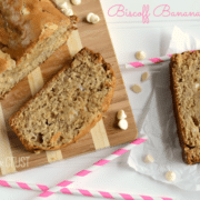 Biscoff banana bread slices on a cutting board, pink straws next to it, and graphic title on the top right.