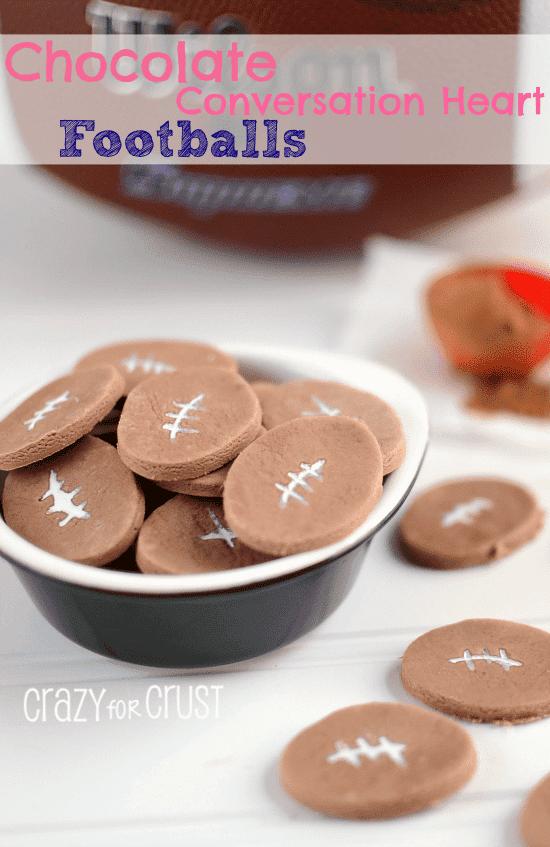 chocolate football conversation hearts