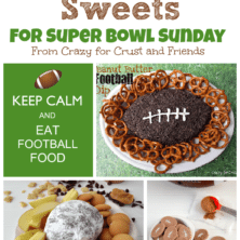 5 picture collage of football sweets including dip, cookies and candy, with graphic image on the top.