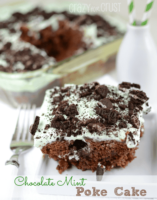 Chocolate Mint Poke Cake by crazyforcrust.com