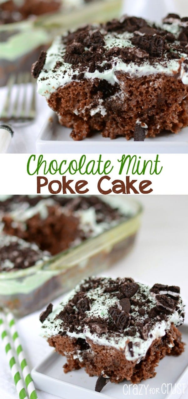 Chocolate Mint Poke Cake