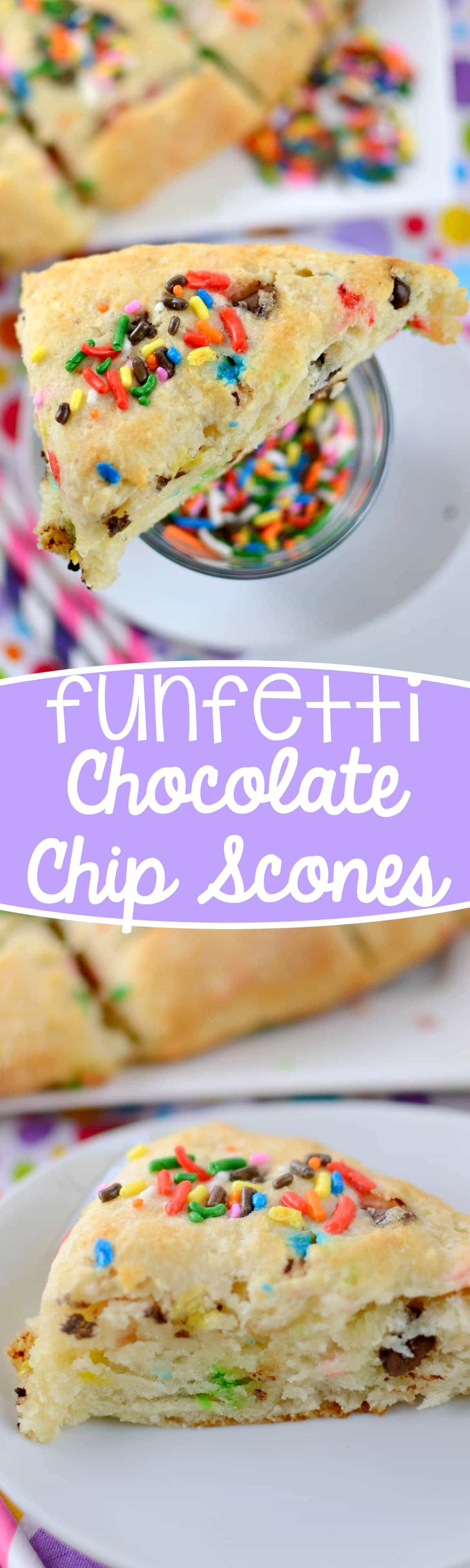 Funfetti Chocolate Chip Scones - these easy scones are the BEST! They start with a cake mix and are super fluffy and the perfect breakfast recipe.