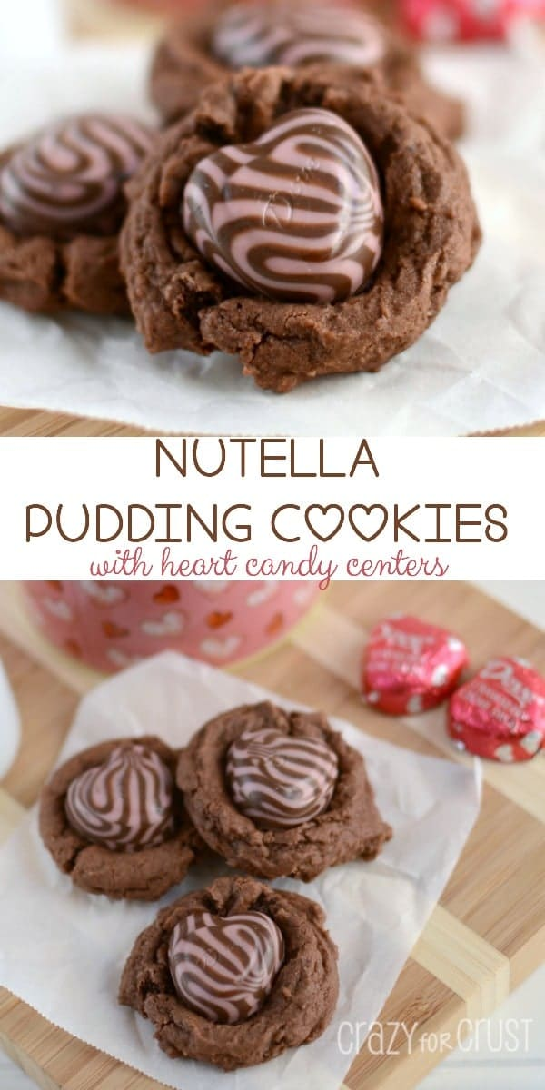 Nutella Pudding Cookies with heart shaped candy centers
