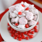 Red Hots Muddy Buddies in white bowl
