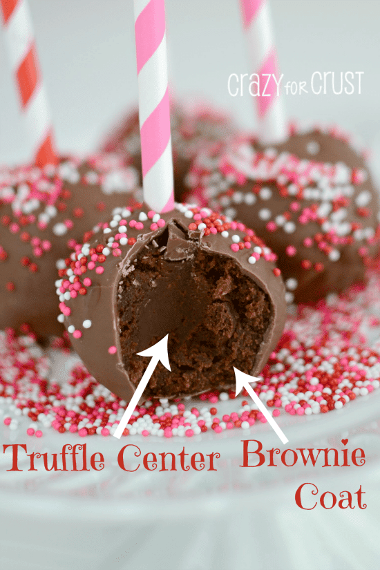 Truffle stuffed Brownie Pops 3 words