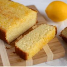 Lemon Pound Cake sliced on cutting board