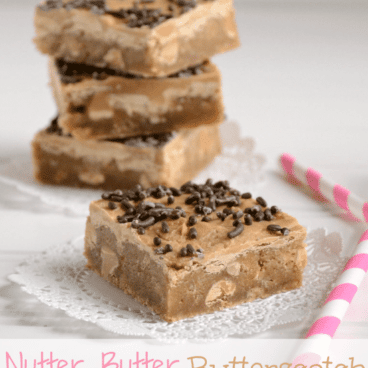 Nutter Butter Butterscotch Blondies on doily on white background