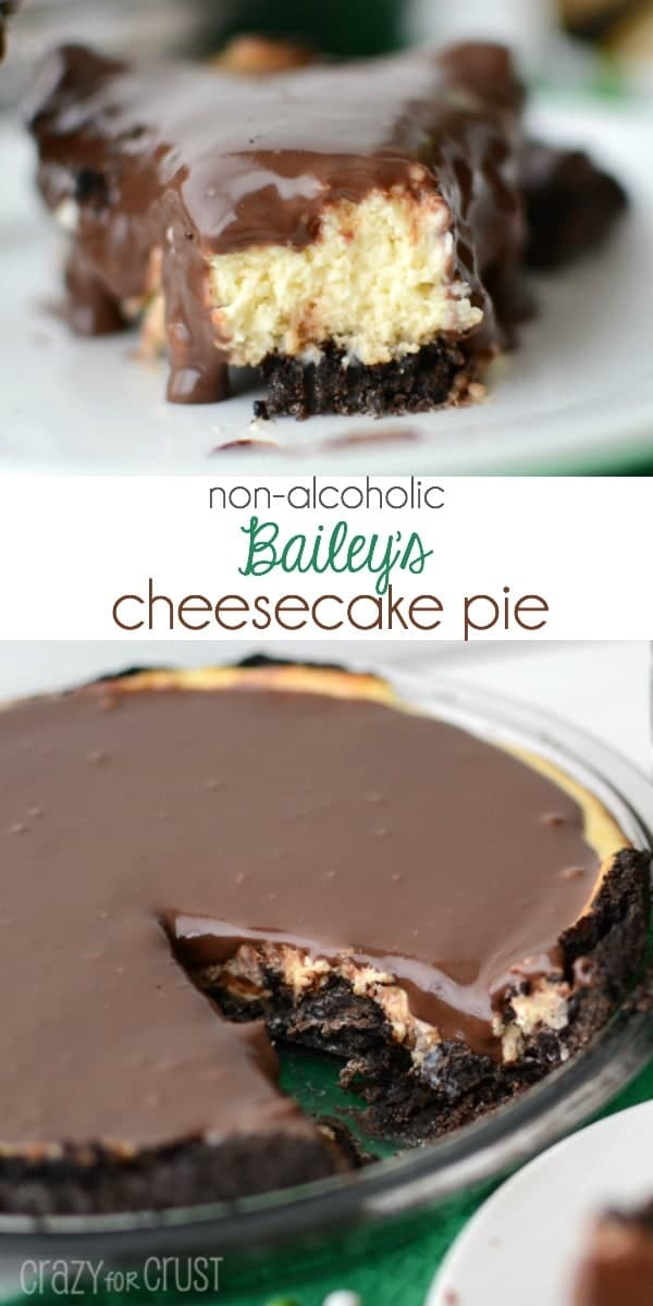 Non-Alchoholic Bailey's Cheesecake Pie with an Oreo crust!