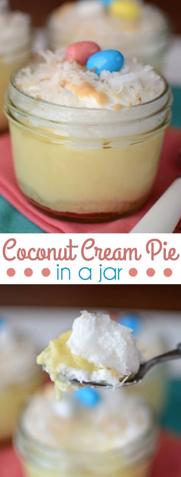 coconut cream pies in jars with jelly beans on top collage