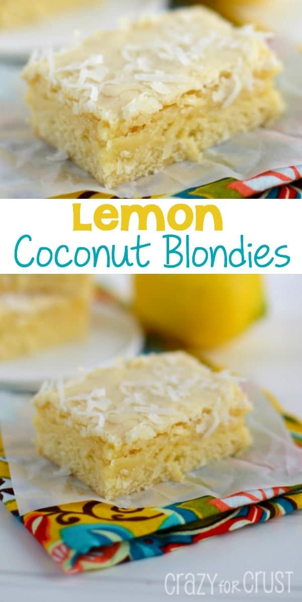 lemon coconut blondies on parchment paper and colorful napkin topped with coconut collage photo