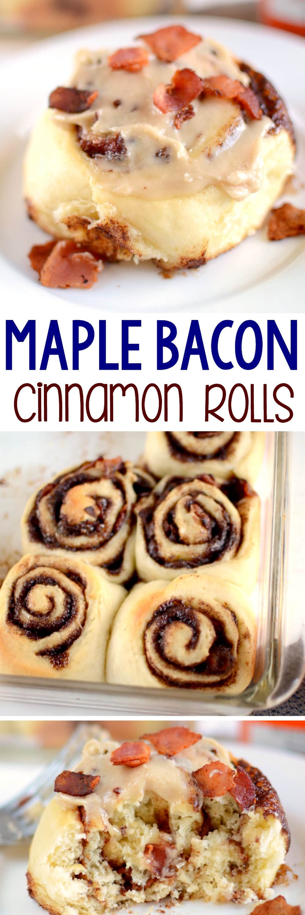 Bacon Maple Cinnamon Rolls - this easy cinnamon roll recipe has super fluffy dough filled with a buttery brown sugar mixture and BACON! The maple syrup glaze is perfect with the bacon on top! Homemade cinnamon rolls are so easy!