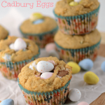 peanut butter muffins with mini cadbury eggs